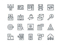 Digital Marketing. Set of outline vector icons. Includes such as Viral video, E-commerce, Analytics and other. Editable. Digital Marketing. Set of outline vector Stock Photos