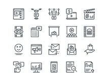 Digital Marketing. Set of outline vector icons. Includes such as Viral video. Food photo, Aerial shooting and other Stock Photos