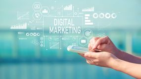 Digital Marketing with smartphone stock images