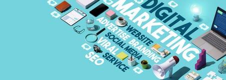Digital marketing and social media cloud tag