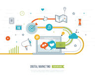 Digital marketing and social network concept. Marketing strategy. Digital marketing and social network concept for web and infographic. Teamwork and Royalty Free Stock Image