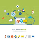 Digital marketing and social network concept. Marketing strategy. Digital marketing and social network concept for web and infographic. Teamwork and Stock Photo