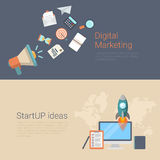 Digital marketing startup ideas flat infographics banner slider. Flat style website slider banner digital marketing startup ideas concept web infographics Royalty Free Stock Photography