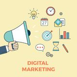 Digital marketing startup ideas flat infographics. Flat style linear website digital marketing startup ideas concept web infographics icons. Loudspeaker message Royalty Free Stock Images