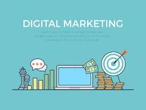 Digital marketing startup ideas flat infographics. Flat style linear website slider banner digital marketing startup ideas concept web infographics. Message royalty free illustration