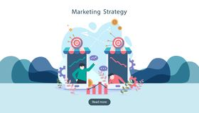 digital marketing strategy concept with tiny people character. online ecommerce business in modern flat design template for web stock illustration