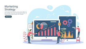 digital marketing strategy concept with tiny people character, table, graphic object on computer screen. online social media vector illustration