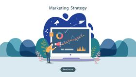 digital marketing strategy concept with tiny people character, table, graphic object on computer screen. online social media stock illustration