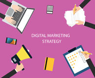 Digital marketing strategy. With team using media marketing to increase promotions , communication, and sales stock illustration