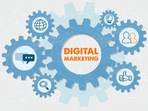 Digital marketing and symbols in grunge flat design gears infogr Stock Images