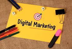 Digital Marketing with Target Icon on paper Royalty Free Stock Image