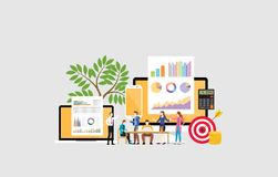 Digital marketing team concept with people brainstorming discuss on meeting - vector. Illustration stock illustration