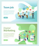 Digital Marketing and Team Job Internet Web Pages stock illustration