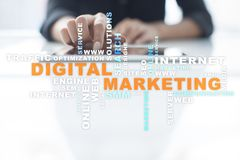 DIgital marketing technology concept. Internet. Online. Search Engine Optimisation. SEO. SMM. Advertising. Words cloud. DIgital marketing technology concept royalty free stock photos