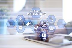 Digital marketing technology concept. Internet. Online. Search Engine Optimisation. SEO. SMM. Video Advertising. royalty free illustration