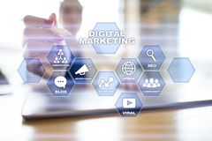 Digital marketing technology concept. Internet. Online. Search Engine Optimisation. SEO. SMM. Video Advertising. stock illustration