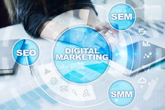 DIgital marketing technology concept. Internet. Online. SEO. SMM. Advertising. Stock Images