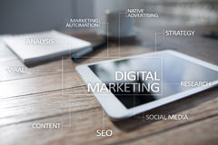 DIgital marketing technology concept. Internet. Online. SEO. SMM. Advertising. Stock Photo