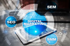 DIgital marketing technology concept. Internet. Online. SEO. SMM. Advertising. Royalty Free Stock Image