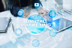 DIgital marketing technology concept. Internet. Online. SEO. SMM. Advertising. Royalty Free Stock Photo
