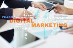 DIgital marketing technology concept. Internet. Online. SEO. SMM. Advertising. Royalty Free Stock Photos