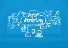 Digital marketing text with drawings graphics Stock Image