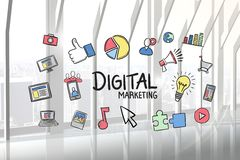 Digital marketing text surrounded with various icons in office Stock Images