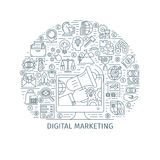 Digital marketing thin line concept. Digital marketing concept. Design template with thin line icons on theme commerce, start up, media strategy and business Stock Image