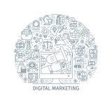 Digital marketing thin line concept Stock Image