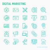 Digital marketing thin line icons set. Searching idea, development, optimization, management, communication. Vector illustration for banner, web page, print royalty free illustration