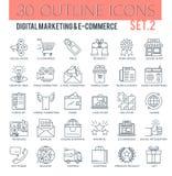 Digital-Marketing-und -E-Commerce-Entwurfs-Ikonen lizenzfreies stockbild