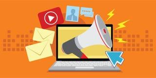 Digital marketing with various media. Vector illustration Stock Photos