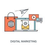 Digital Marketing. Vector illustration of digital marketing flat line design concept Stock Photography