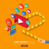 Digital Marketing. Video content marketing.Flat design concept for make momey with video.3d oblic vector Stock Photos