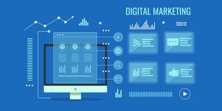 Digital marketing, web analytics, data, information, online business research concept. Flat design vector illustration. Digital marketing analysis, dashboard Stock Image