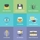 Digital marketing and web optimization flat icons Stock Images