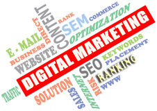 Digital marketing. The Digital Marketing word cloud, business concept Stock Photo