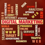 Digital marketing. The word cloud of the Digital marketing,business and internet concept Royalty Free Stock Images