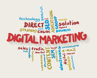 Digital marketing word cloud in colors Royalty Free Stock Photos
