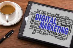 Digital marketing word cloud stock image