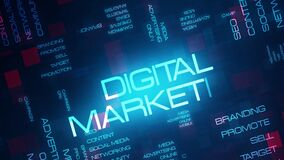 Digital Marketing word tag cloud text animation on modern futuristic digital technology blue and red grid background.