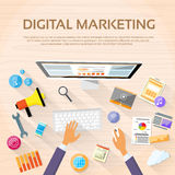 Digital Marketing Workspace Desktop Workstation Stock Photo