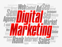 Digital-Marketing-Wortwolkencollage Lizenzfreies Stockbild