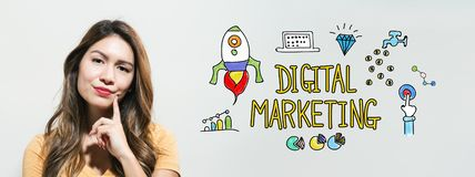 Digital marketing with young woman royalty free stock images