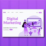 Digital-Marketings Art des Digital-Marketing-Vektors Landungsseitenillustration flachen lizenzfreie abbildung
