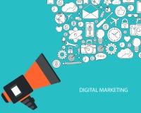 Digital marknadsföring och advertizingbegrepp Plan vektorillustration stock illustrationer