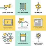 Digital marknadsföring och plana symboler för advertizing Royaltyfri Bild
