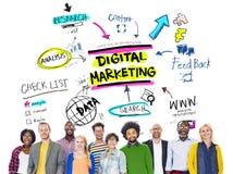 Digital marknadsföring som brännmärker strategi online-massmediabegrepp royaltyfri bild