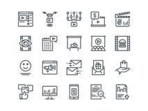 Digital marknadsföring Uppsättning av översiktsvektorsymboler Inkluderar liksom den virus- videoen royaltyfri illustrationer