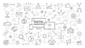 Digital marknadsföringsanimering stock illustrationer